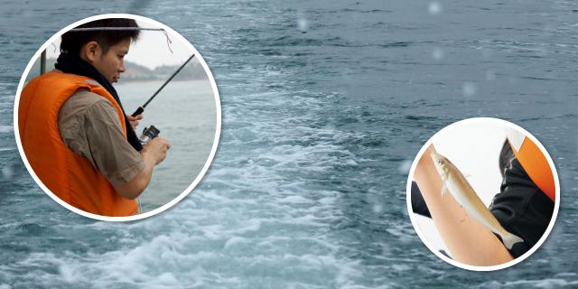 実際に海に出て、漁師さんと共に魚を釣り、地元の漁について理解を深めたこの日。