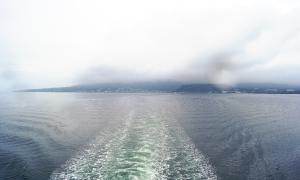 現地到着! 残念ながら雨。ひそかに楽しみにしていた桜島は・・・たぶん、このへん。